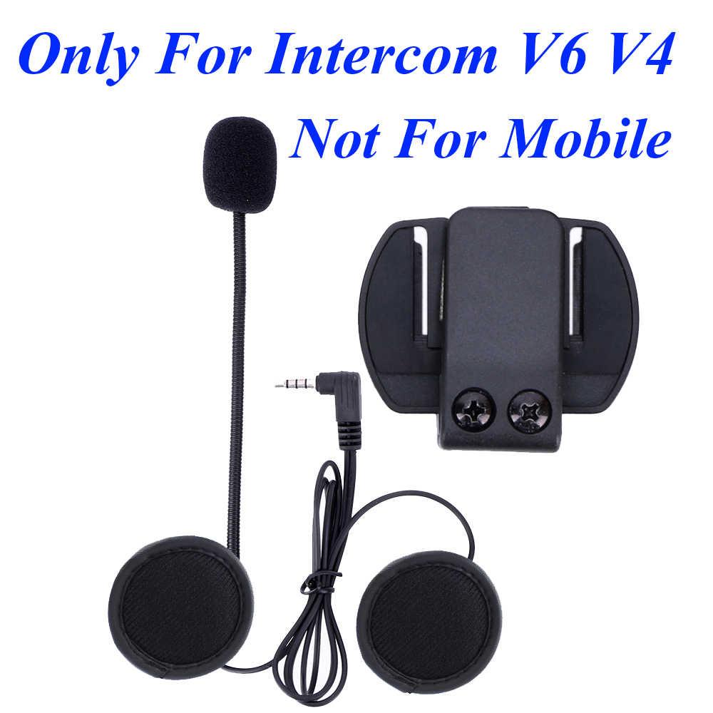 2 pièces V6 accessoires écouteur haut-parleur Microphone & Clip seul costume pour V6 V4 moto casque Bluetooth interphone