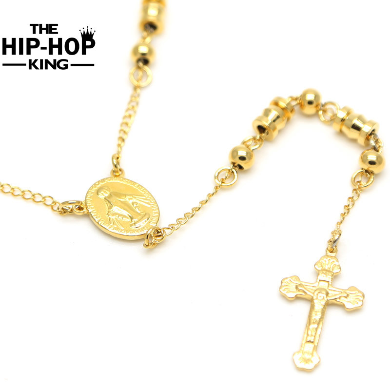 Stainless Steel Jesus Necklace & Pendants Long Rosary ...