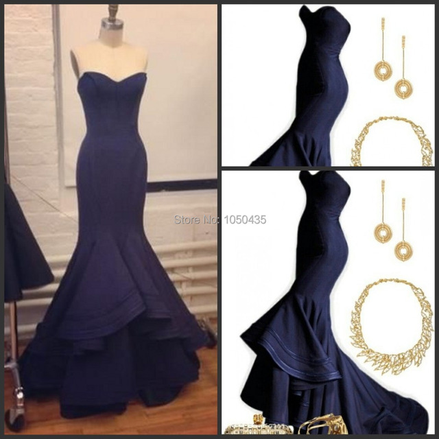 Best Navy Blue Evening Dresses Fish Tail Satin Long S Party Dress Backless Sweetheart Formal