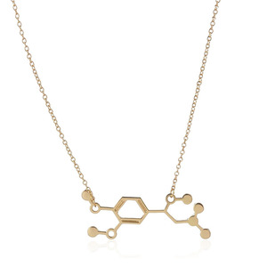 1 шт., новинка 2016 года, ювелирное изделие из молекулы адреналина, химическое строение, Золотое и серебряное покрытие, ожерелье с плавающим ша...