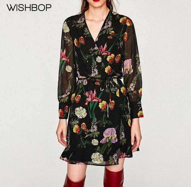 WISHBOP 2017 New Vintage Black Floral Print Wrap Dress with Belt V-neck Long  sleeved 3d9148463ed1