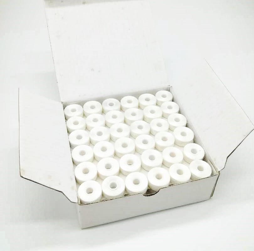 Couleur blanche sidless Type L 75D/2 144 pièces/boîte pour Machine à broder fil de canette pré-enroulé