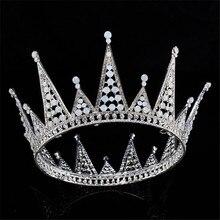 New Wedding Jewelry Full Cystal  Rhinestone Large Tiara Crown Bridal Pageant Hair Crown Tiaras for Women Hair Jewelry FN-GHB011