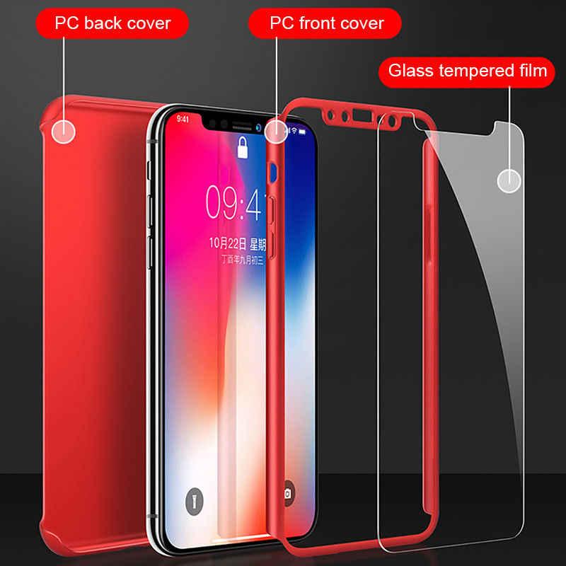 360 Penuh Melindungi Ponsel Case untuk iPhone XR X XS Max Tempered Glass + Hard Pc Back Matte Cover untuk iPhone 7 8 6 6 S S Plus Capa Tritone