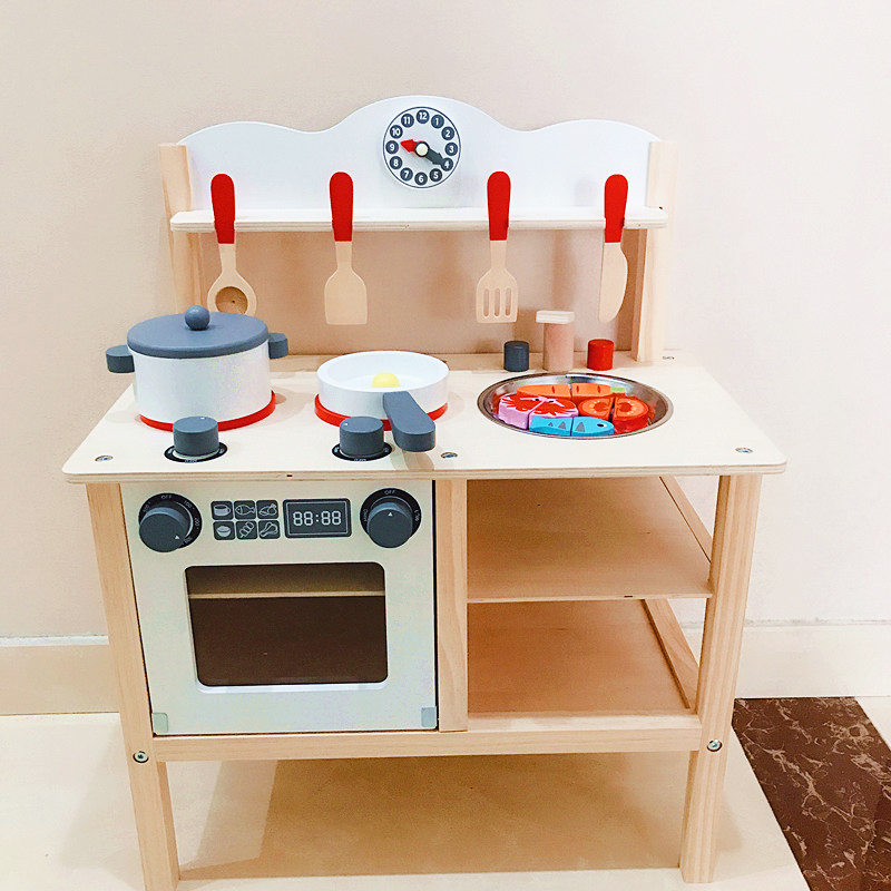 942be9f042f7 Children Wooden Hearth Pretend Toy Kids Original Wooden Toy Kitchen with Kitchen  Cookware set for child Cooking Educational Toy-in Kitchen Toys from Toys ...