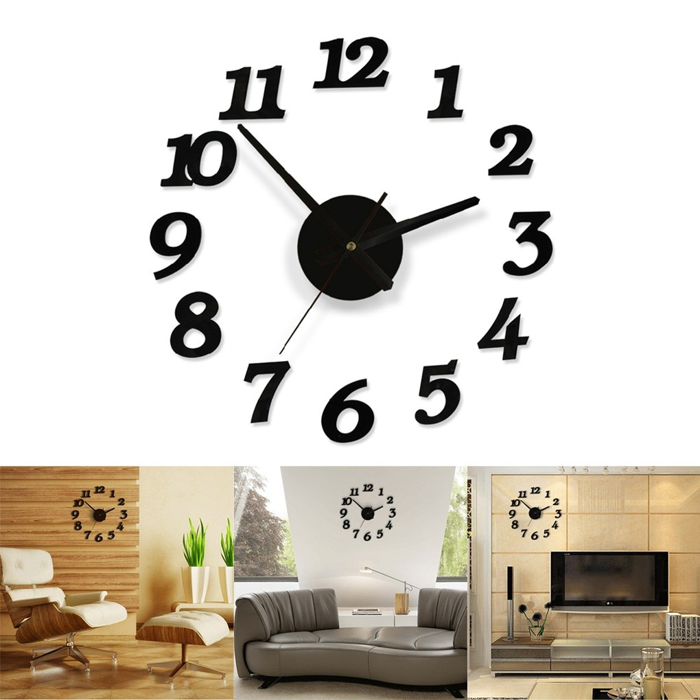 Home Decoration Black Digital Clock Sticker Creative Diy Wall Clock Home Office Decor Clock