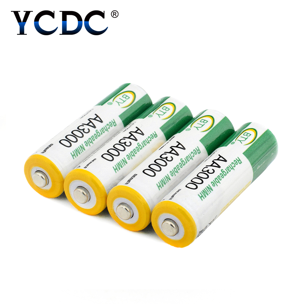 Power Source Ycdc High Capacity Aa 3000mah 1.2 V Ni-mh Rechargeable Batteries Lr6 Hr6 Kaa Mn1500 Bty Am3 Battery Replacement With Box Case Comfortable And Easy To Wear