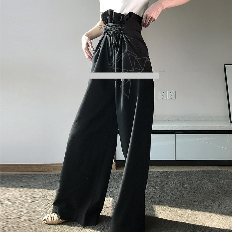 GETSRING Women Wide Leg Pants 2017 Loose Casual Long High Waist Drawstring Strap Trousers Autumn Winter Woman Pants Vintage
