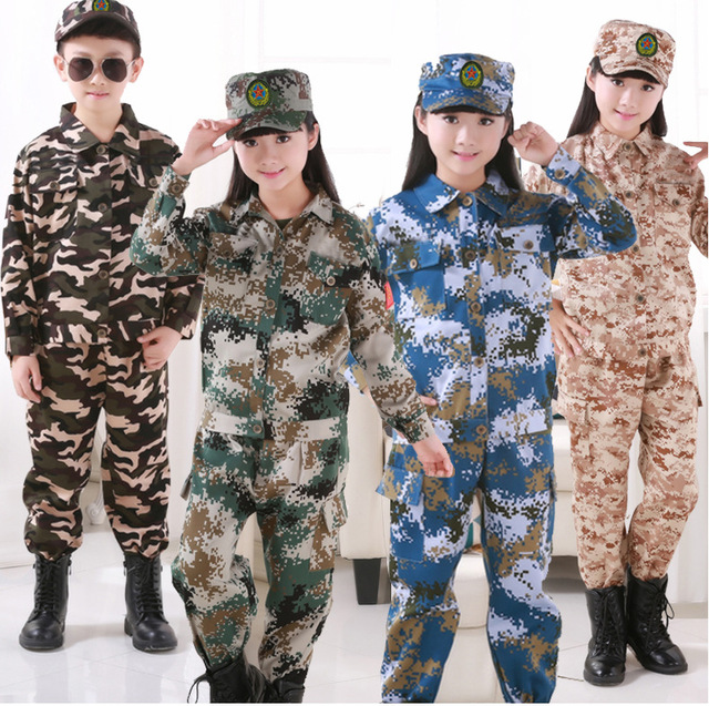 81480b7d3ca US $9.51 40% OFF|Children CS Training Clothing Set Army Suit Halloween  Cosplay Costumes Policemen SWAT Air Force Tactical Kids Boys Uniform on ...