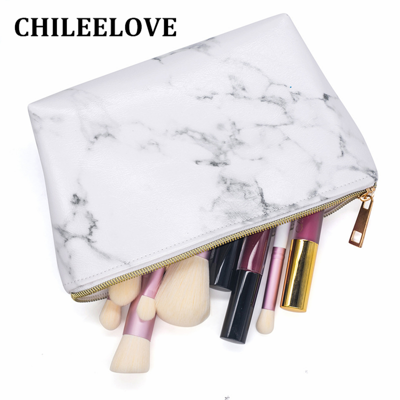 CHILEELOVE PU Leather Marble Pattern Cosmetic Bag Makeup Brushes Kit Bag Handbag Pouch Fashion Zipper Bag Travelling