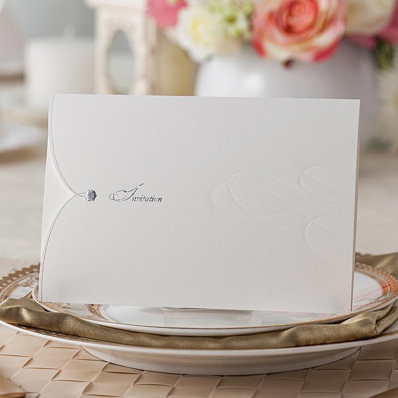 Simple Delicate Elegant Embossing White Wedding Invitation Cards ...