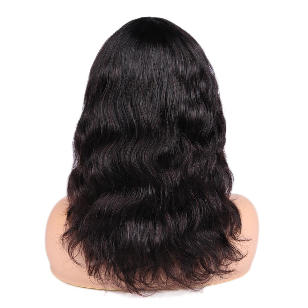 Brazilian Remy 100 Human Hair Wigs Body Wave With Bangs Natural Black Color For Women Free Shipping Gifts FAVE Hair in Human Hair Lace Wigs from Hair Extensions Wigs