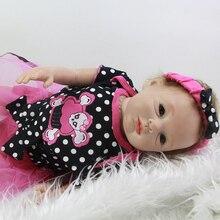 Fashion Reborn Babies Dolls 22 Inch Full Silicone Arms Lifelike Newborn Baby Toy Alive Kids Doll Children Birthday Xmas Gift