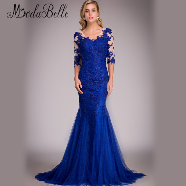 Favoloso Royal Blue Lace Evening Dress Real Picture 2016 Mermaid  WZ56
