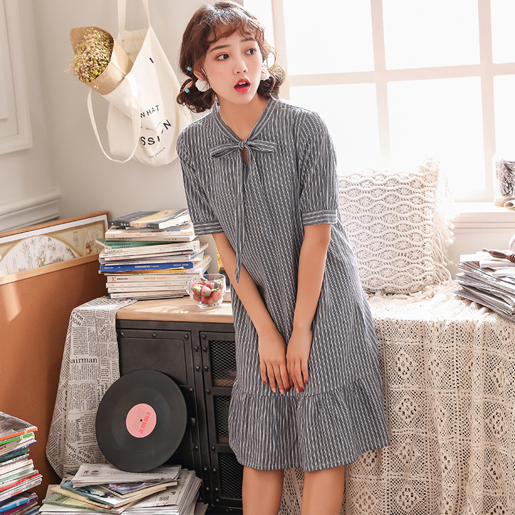 Summer New Girls   Nightgown   Cotton   Sleepshirt   Short Sleeve Nightwear Nightdress Casual Sleepwear Home Dress Loose Nightshirt