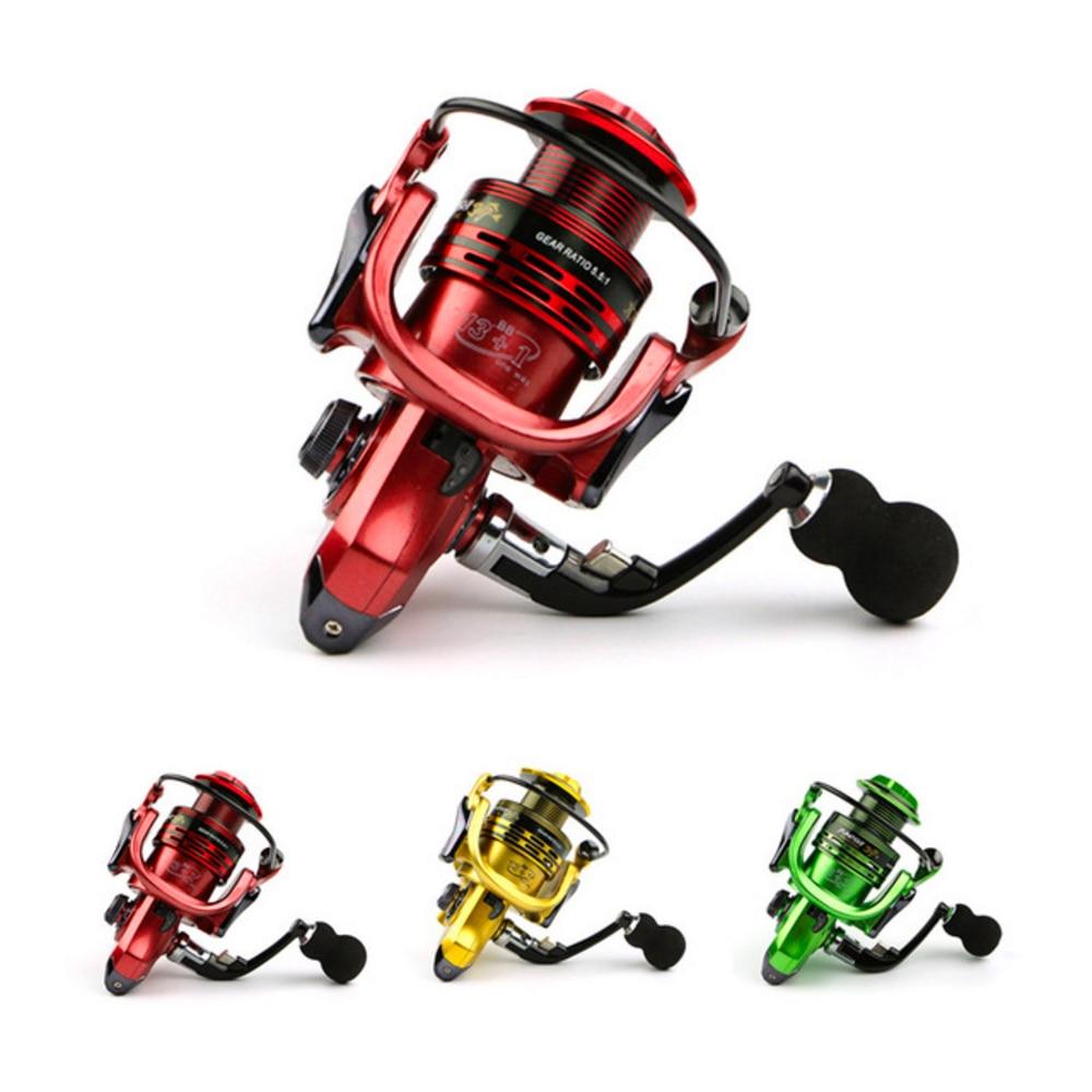 Todo-metal brazo 13 + 1BB spinning pesca carrete Eva mango pesca carretes 3 colores 1000-Serie 7000 gapless rueca cabeza de metal