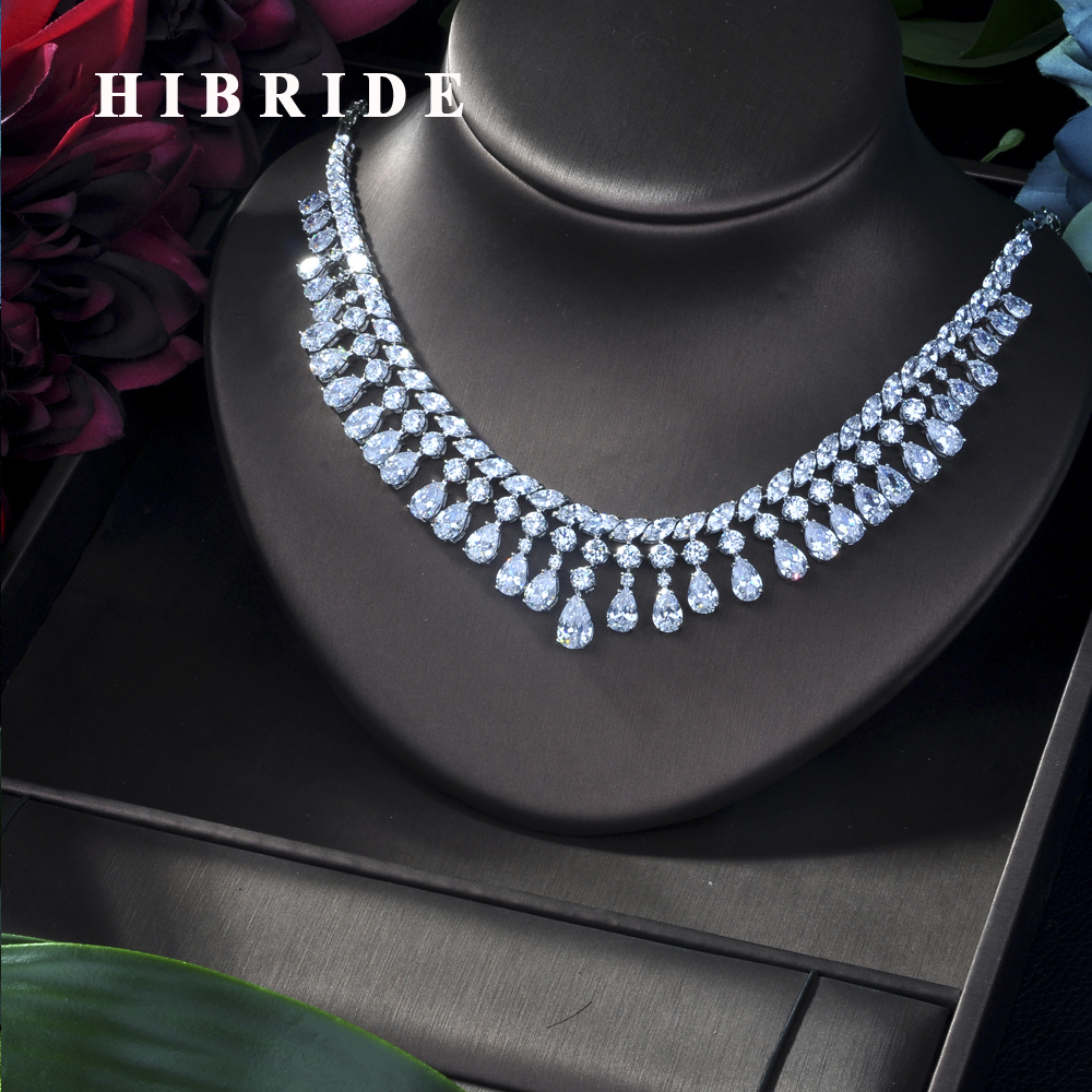HIBRIDE Exclusive Chain Geometric Drop Elegant Women Wedding Naija Bridal Cubic Zirconia Lariat Necklace Earring Dubai N 227