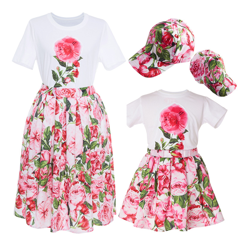 3pcs Mother Daughter Dresses Elegant Summer Short Sleeved Family Look Matching Clothes Mom and Baby Daughter Dress Set with Hat family clothing spring matching clothes mother daughter long sleeve dresses and vest two piece set matching mom daughter dress