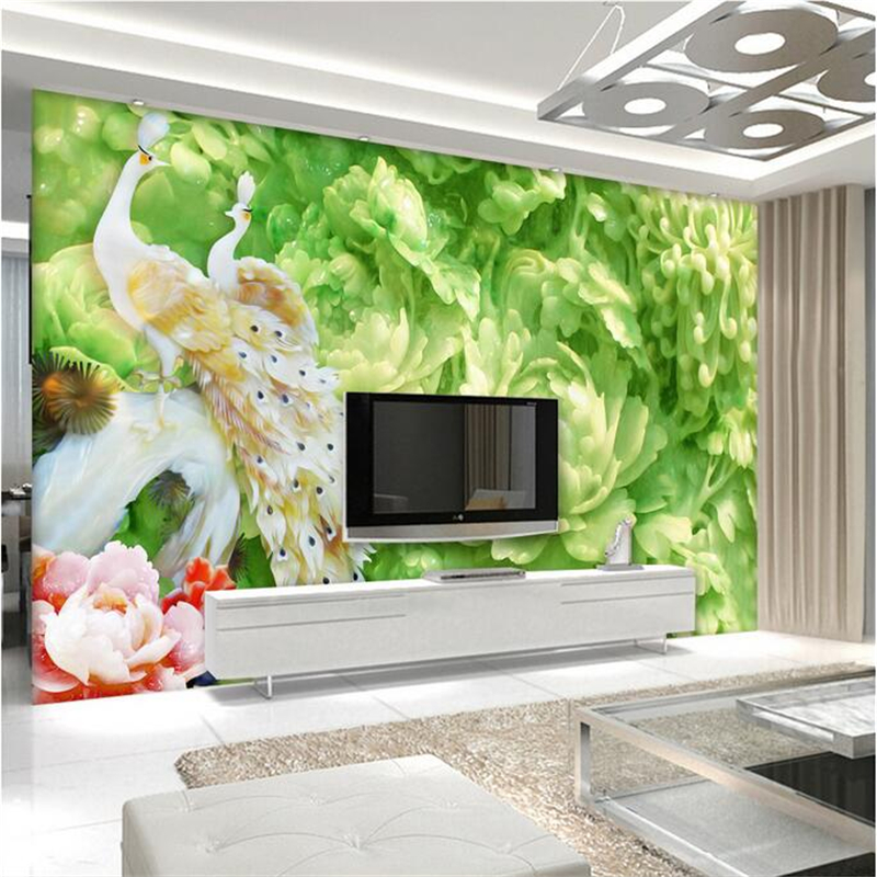 Peacock Wallpaper Custom Jade Carving Peony 3d Photo Wall Paper Environment Friendly TV Background Living Room Kitchen Bedroom customize photo wallpaper murals slovenia lake 3d embossed wallpaper environment friendly tv background wall paper for kids room