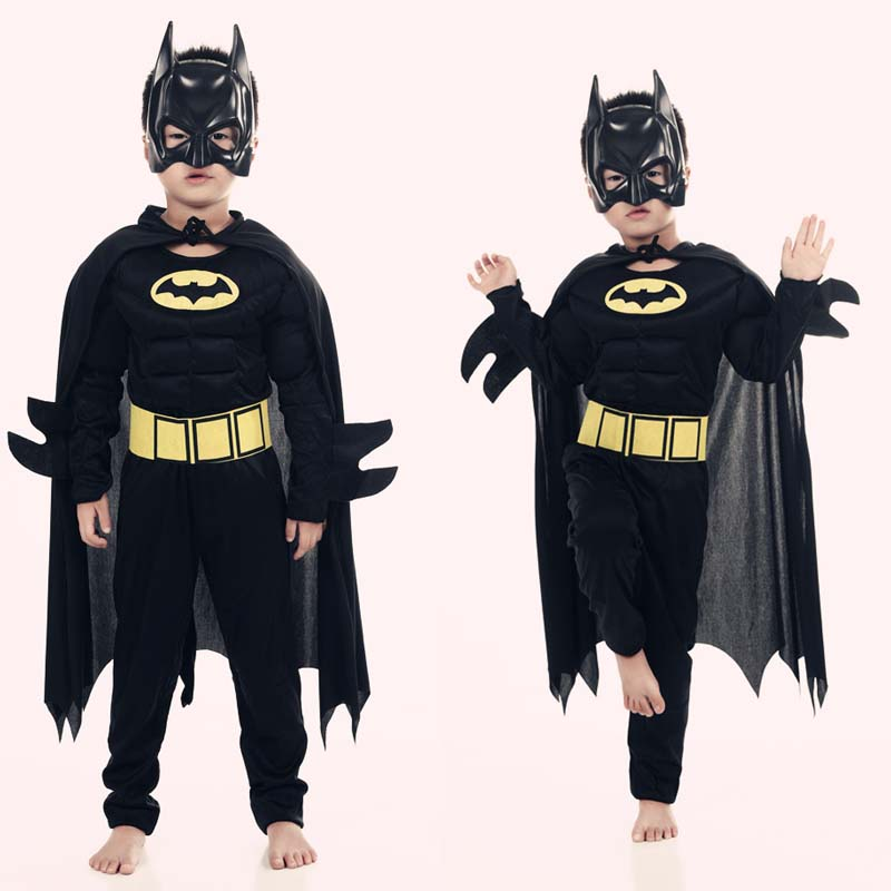 Muscle Batman Costumes,Superman Batman Movie Classic Costume Halloween For KIds Boys Justice League Infantile Superhero Clothes