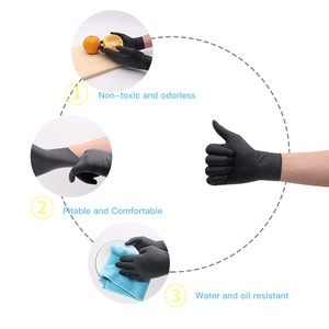 Image 3 - 100 Pcs Groothandel Multifunctionele Comfortabele Wegwerp Rubberen Handschoenen Zwarte Dikke Duable Huishoudelijke Waterdichte Industriële Handschoenen
