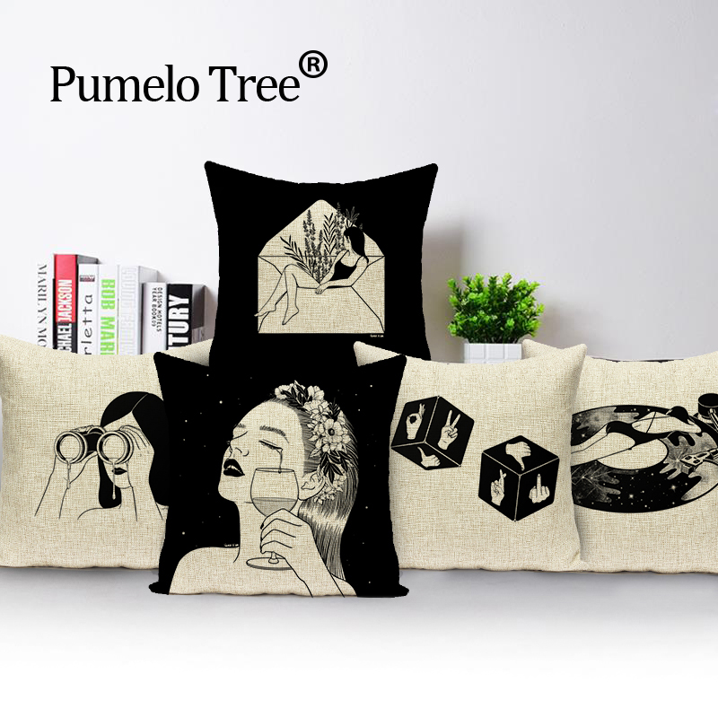 Pleasant Us 2 99 40 Off Sad Couples Pillow Cover Black And White Decorations Lovely Throw Pillows Linen Cushions For Sofa Custom Cover Cushion In Cushion Uwap Interior Chair Design Uwaporg