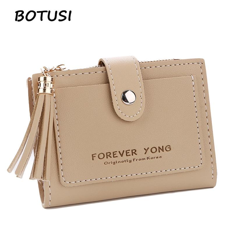 BOTUSI Short Clutch Wallet Vintage Tassel Women Wallet Fashion Small Female Purse Short Coin Card Holder Coin Purse Ladies
