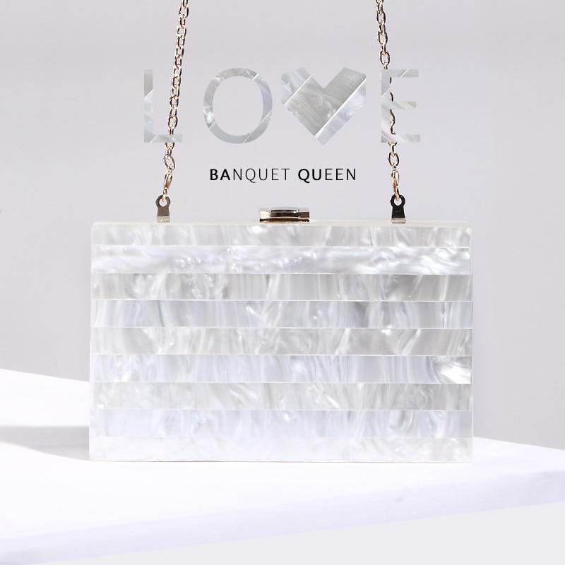 Marca de Luxo Moda Listra Mosaico Pérola Acrílico Bolsa Embreagem Senhora Ombro Crossbody Banquete Aleta 2020