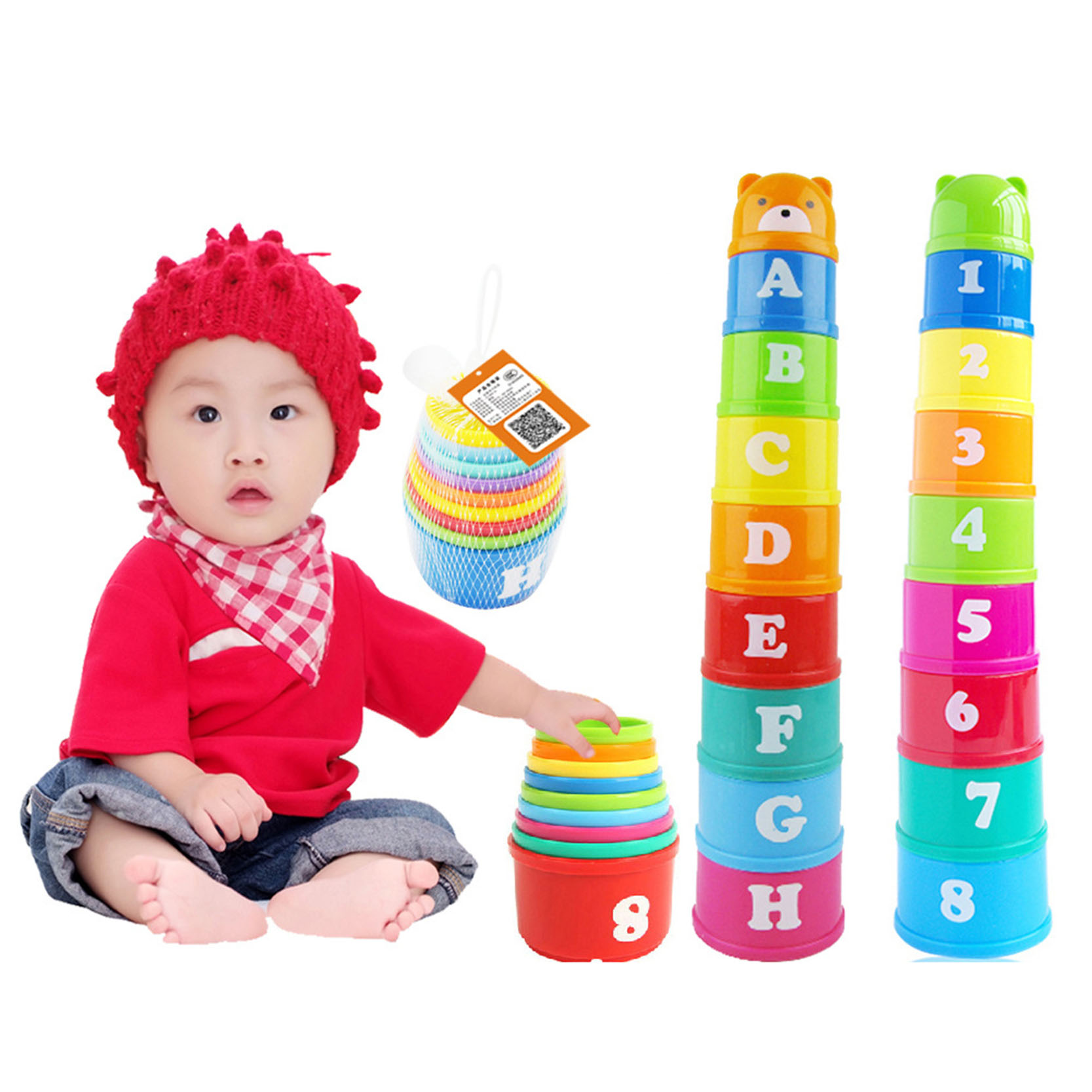 1 set new baby children kids educational toy figures letters folding cup pagoda gift math toy letter number random