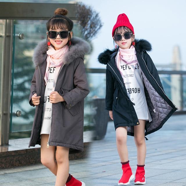 21146d1c45bd Girl Winter Jacket Kids Clothes Solid Thicken Warm Girls Cotton ...
