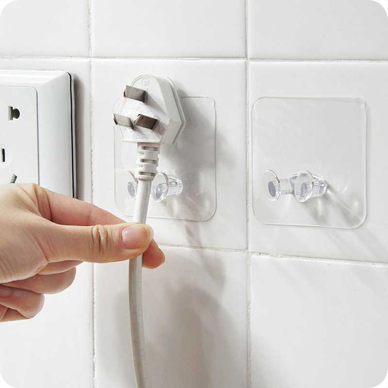3pcs/Pack Transparent Home Office Wall Powerful Adhesive Plastic Power Plug Socket Holder Hanger Wall Storage Hook High Quality