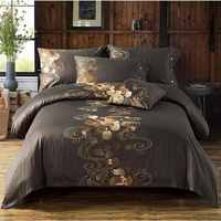 100% Egypt Cotton Duvet Cover King Queen Size 4pcs Flowers Embroidered Bedding Sets Luxury Bedclothes Bed Linen Pillowcase