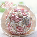 2017 Hot Sale Cheap Dazzling Diamonds Wedding Bouquets Handmade Flowers Decorative Artificial Rose Flowers Pearls Bride Bouquet