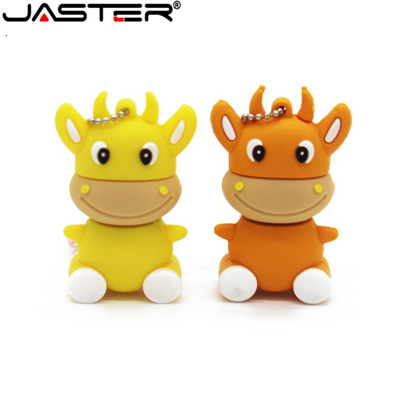 JASTER Promotion Mini Creative Cartoon External Storage  USB 2.0 4GB 8GB 16GB 32GB 64GB Small Cow Cow USB Flash Drive
