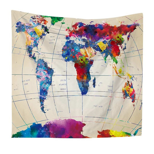 Home watercolor world map tapestry wall hanging colorful map beach home watercolor world map tapestry wall hanging colorful map beach indian dorm decor bedroom tapestry gumiabroncs Images