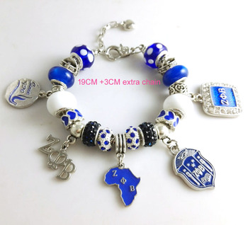 2015 Newest ZETA PHI BETA Sorority Bracelet ZPB charm bead bracelet bangle 1