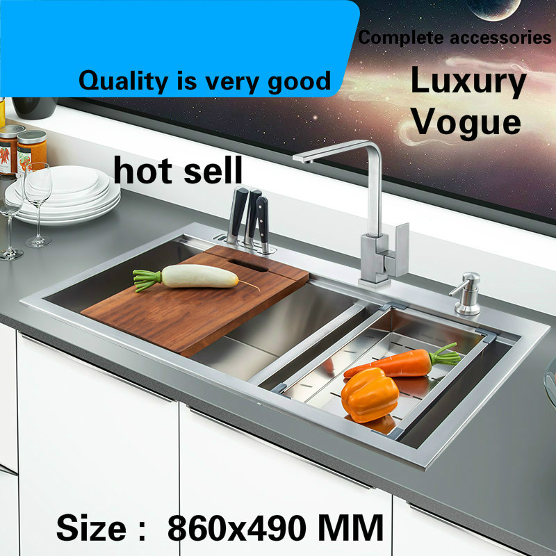 Free Shipping Luxury Big Kitchen Manual Sink Double Groove Standard Durable Food Grade 304 Stainless Steel Hot Sell 860x490 MM