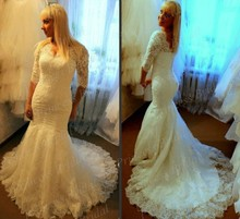 New Hot Sale Real Model Factory Price Mermaid V Neck Lace Appliques Wedding Gown Court Train Half Sleeve Wedding Dresses MF586