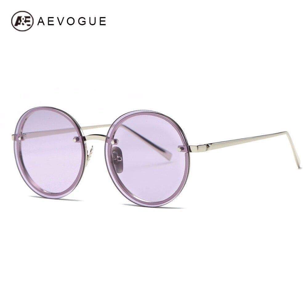 AEVOGUE Sunglasses Women Brand Designer Round Rimless Metal Temple Oversize Vintage Superstar Sun Glasses With Box AE0497