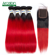 T1B Red Brazilian Straight Hair Weave Bundles With Closure 100% Human Hair Extensions 3 or 4 Bundles With Lace Closure Non Remy