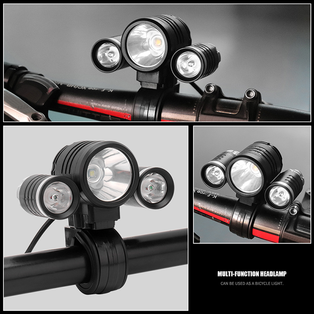 Купить с кэшбэком BORUiT LED Headlamp Bicycle light 3-Mode IPX5 Headlight RJ-1156 XML L2 Green LED Cycling Light Head Torch Out Door light