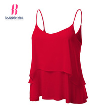 Spaghetti Strap Top Women Summer Casual Beach Camisole Sexy Double Layer Ruffle Basic Solid Color Tops Bubblekiss