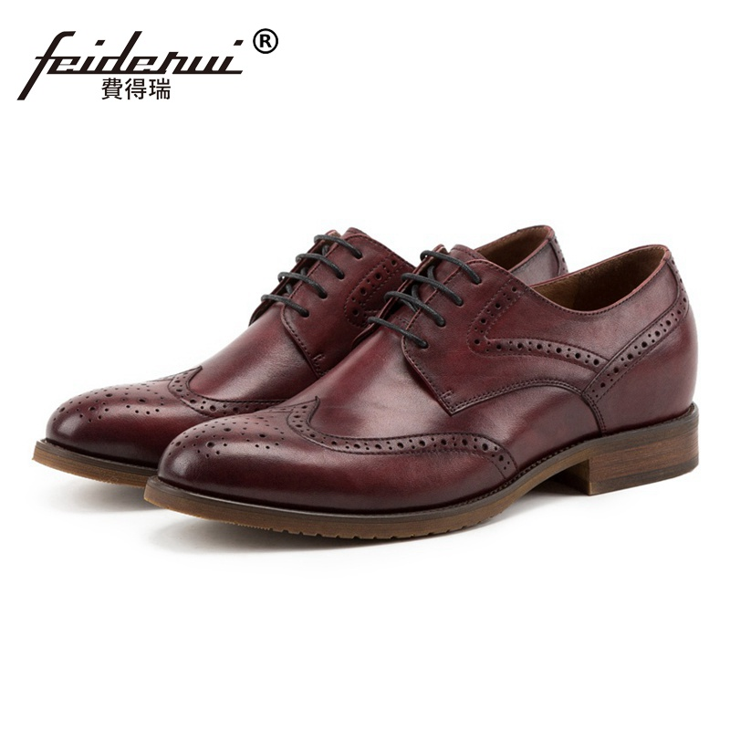 Vintage Round Toe Man Genuine Leather Wingtip Brogue Footwear Height Increase 4cm Formal Dress Mens Handmade Party Shoes SS200Vintage Round Toe Man Genuine Leather Wingtip Brogue Footwear Height Increase 4cm Formal Dress Mens Handmade Party Shoes SS200