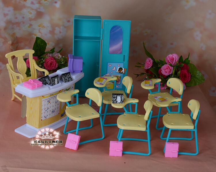 For Barbie Teacher Classroom School Desk Student Class Barbie Kindergarten Furniture Barbie House Accessories