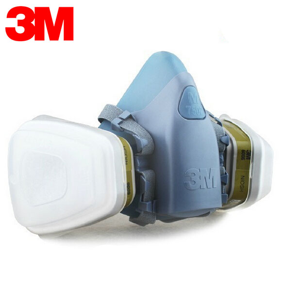 3M 7501+6003 Safety Respirators Mask Anti Organic/Acid Half Face Mask for Construction/Mining/Oil/Gas 7 Items for 1 Set XK007 3m 6300 6009 reusable half face mask respirator mercury organic vapor chlorine acid gas cartridge 7 items for 1 set k01010