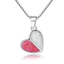 Simple Red Love Heart Pendant Necklace For Women Fresh Sweet Hearts Lovely Sweet Girl Heart Shape Silver Color Pendant Necklace a suit of stylish solid color heart shape letter carving pendant necklace for women