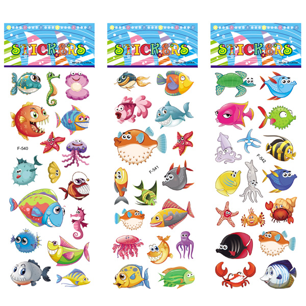 12 Sheets/pack Kids Stickers Toy Creative Cute Seabed Animals Fishes PVC Sticker for DIY Scrapbooking Diary Phone Stickers
