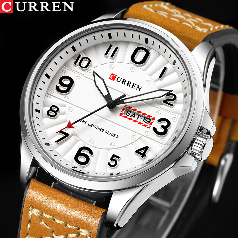 New CURREN Sport Quartz Watch Waterproof Mens Watches Top Brand Luxury Genuine Leather Date Week Clock Relogio Masculino