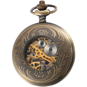 Image 5 - Steampunk Pocket Watch Mechanical Pocket Watches Flip Clock Necklace Retro Skeleton Vintage Pocket Fob Watch Chain Dropshipping