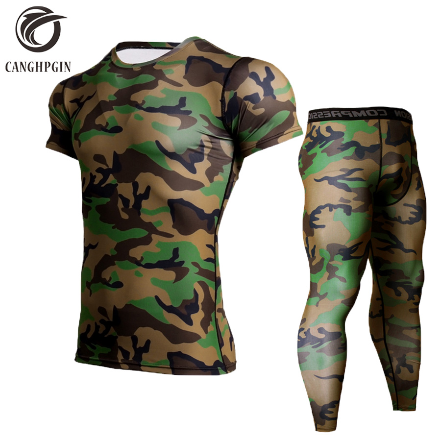 CANGHPGIN Men's Running Suits Jogging Compression Set Mens Sports Suits Camouflage Short Sleeve Shirt Pants MMA Fitness Clothing canghpgin номер xl